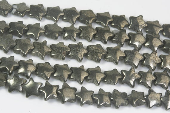 Natural Pyrite Star Beads - Puffy Celestial Stone Beads - Jewelry Beads And Stones  - Jewellry Making Supplies - Sky Beads  -15inch