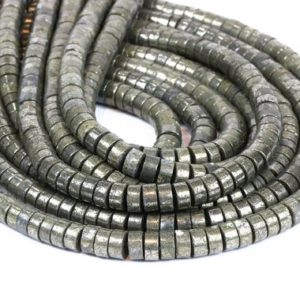 "Shop Pyrite Bead Shapes! Pyrite wheel beads,pyrite beads,gemstone beads,metal stone beads,loose beads strand,semiprecious beads,wholesale beads  – 16"" Full Strand 