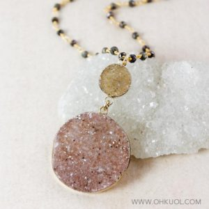 Shop Pyrite Pendants! 50% OFF SALE – Cherry Blossom Pink Druzy Pendant Necklaces, Choose Your Druzy, Black Pyrite Chain | Natural genuine Pyrite pendants. Buy crystal jewelry, handmade handcrafted artisan jewelry for women.  Unique handmade gift ideas. #jewelry #beadedpendants #beadedjewelry #gift #shopping #handmadejewelry #fashion #style #product #pendants #affiliate #ad