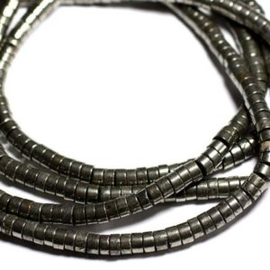 Shop Pyrite Rondelle Beads! Wire 39cm env – stone beads – Pyrite Rondelles 9x5mm 93pc   Natural genuine rondelle Pyrite beads for beading and jewelry making.  #jewelry #beads #beadedjewelry #diyjewelry #jewelrymaking #beadstore #beading #affiliate #ad