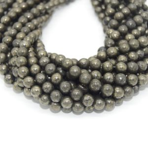 Shop Pyrite Round Beads! Pyrite Beads |  Natural Smooth Round Gemstone Beads – 4mm 6mm 8mm 10mm 12mm Available | Natural genuine round Pyrite beads for beading and jewelry making.  #jewelry #beads #beadedjewelry #diyjewelry #jewelrymaking #beadstore #beading #affiliate #ad