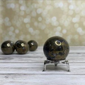 Shop Pyrite Shapes! Pyrite Crystal Sphere – 1-1/2"