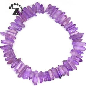 """Shop Quartz Chip & Nugget Beads! Crystal Quartz rough point bead,Crystal bead,top drilled bead,Natural,gemstone bead,diy,loose beads,nugget,raw,5-11×20-32mm,15"""" full strand 