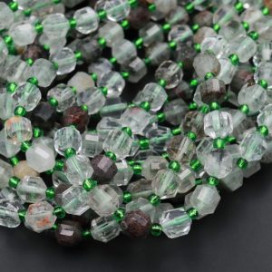 """Shop Quartz Crystal Faceted Beads! Natural Green Phantom Lodalite Quartz 8mm Beads Faceted Energy Prism Double Terminated Points 15.5"""" Strand   Natural genuine faceted Quartz beads for beading and jewelry making.  #jewelry #beads #beadedjewelry #diyjewelry #jewelrymaking #beadstore #beading #affiliate #ad"""
