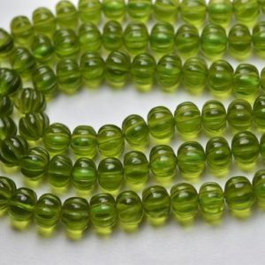 Shop Quartz Crystal Rondelle Beads! 7 Inches Strand,Green Vessonite Quartz Smooth Melon Shape Rondelles Size 7-8mm | Natural genuine rondelle Quartz beads for beading and jewelry making.  #jewelry #beads #beadedjewelry #diyjewelry #jewelrymaking #beadstore #beading #affiliate #ad