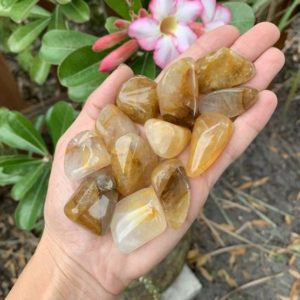 Shop Tumbled Quartz Crystals & Pocket Stones! Yellow Hematoid Quartz, Hematoid Quartz, Tumbled Hematoid Quartz | Natural genuine stones & crystals in various shapes & sizes. Buy raw cut, tumbled, or polished gemstones for making jewelry or crystal healing energy vibration raising reiki stones. #crystals #gemstones #crystalhealing #crystalsandgemstones #energyhealing #affiliate #ad