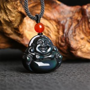 Shop Rainbow Obsidian Necklaces! Rainbow Eye Obsidian Healing Crystal Necklace,Gold Obsidian Stone Maitreya Laughing Buddha Pendant Necklace Men Women,Protection Necklace | Natural genuine Rainbow Obsidian necklaces. Buy crystal jewelry, handmade handcrafted artisan jewelry for women.  Unique handmade gift ideas. #jewelry #beadednecklaces #beadedjewelry #gift #shopping #handmadejewelry #fashion #style #product #necklaces #affiliate #ad
