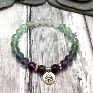 Rainbow Fluorite Stone Grounding Bracelet-Healing Balancing Calming Bracelet-Spiritual Protection Meditation Anxiety Stress Relief Bracelet | Natural genuine Gemstone bracelets. Buy crystal jewelry, handmade handcrafted artisan jewelry for women.  Unique handmade gift ideas. #jewelry #beadedbracelets #beadedjewelry #gift #shopping #handmadejewelry #fashion #style #product #bracelets #affiliate #ad