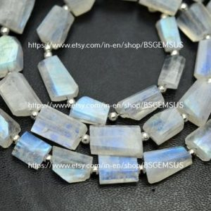 Shop Rainbow Moonstone Chip & Nugget Beads! 10 Inch Strand, Natural Rainbow Moonstone Faceted Fancy Nuggets  Shape Size 8-10mm   Natural genuine chip Rainbow Moonstone beads for beading and jewelry making.  #jewelry #beads #beadedjewelry #diyjewelry #jewelrymaking #beadstore #beading #affiliate #ad