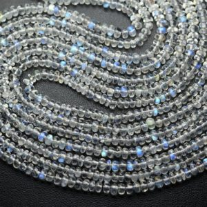 Shop Rainbow Moonstone Rondelle Beads! 13 Inch Strand,Finest Quality,Rainbow Moonstone Smooth Rondelles,Size.3.5mm | Natural genuine rondelle Rainbow Moonstone beads for beading and jewelry making.  #jewelry #beads #beadedjewelry #diyjewelry #jewelrymaking #beadstore #beading #affiliate #ad