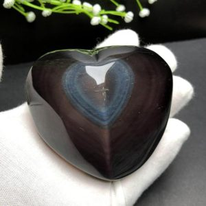 """Shop Rainbow Obsidian Stones & Crystals! 3.1"""" Natural Wonderful Rainbow Obsidian Heart palm, Rainbow eye's obsidian,Hand made decor, reiki heal crystal palm stone,Valentine Crystal 