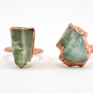 Shop Calcite Rings! Raw Calcite Copper Ring | Mineral Stone Ring | Green Calcite Copper Ring | Copper Calcite Ring | Raw Stone Ring | Green Calcite | Natural genuine Calcite rings, simple unique handcrafted gemstone rings. #rings #jewelry #shopping #gift #handmade #fashion #style #affiliate #ad
