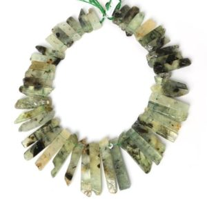 "Raw Prehnite Green Slice Beads, Natural Slab Spike Stick Dagger Tusk Nuggets, Supplies Polished Gemstone Slices 18-50mm 15.5"" 38 pcs 
