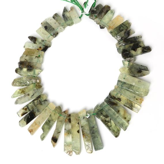 "Raw Prehnite Green Slice Beads, Natural Slab Spike Stick Dagger Tusk Nuggets, Supplies Polished Gemstone Slices 18-50mm 15.5"" 38 Pcs"