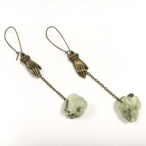 Shop Prehnite Earrings! Raw Prehnite Oxidized Brass Healing Hands Earrings Mystical Spiritual Gemstone Shoulder Dusters Peace Love Witch Witchcraft Green Light | Natural genuine Prehnite earrings. Buy crystal jewelry, handmade handcrafted artisan jewelry for women.  Unique handmade gift ideas. #jewelry #beadedearrings #beadedjewelry #gift #shopping #handmadejewelry #fashion #style #product #earrings #affiliate #ad