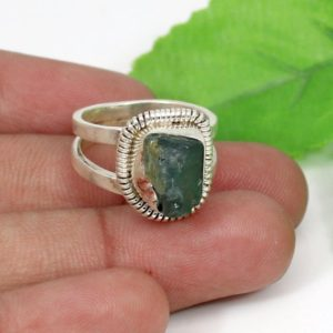 Shop Green Tourmaline Rings! Raw Tourmaline Ring-Natural Green Tourmaline-Raw Ring-Double Band Ring-Tourmaline Silver Ring-Sterling Silver Ring-Tourmaline Jewelry-Boho | Natural genuine Green Tourmaline rings, simple unique handcrafted gemstone rings. #rings #jewelry #shopping #gift #handmade #fashion #style #affiliate #ad