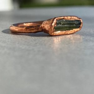 Shop Green Tourmaline Rings! Raw Tourmaline ring- Size 8- Green Tourmaline- Raw gemstone ring- Electroformed ring-  Ready to ship! | Natural genuine Green Tourmaline rings, simple unique handcrafted gemstone rings. #rings #jewelry #shopping #gift #handmade #fashion #style #affiliate #ad