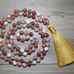 108 Bead Mala Necklace, Mindfulness Breathing Necklace, 108 Mala, 108 Mala Beads, Long Tassel Necklace, Red Jasper Mala Beads, Yoga Gifts | Natural genuine Gemstone necklaces. Buy crystal jewelry, handmade handcrafted artisan jewelry for women.  Unique handmade gift ideas. #jewelry #beadednecklaces #beadedjewelry #gift #shopping #handmadejewelry #fashion #style #product #necklaces #affiliate #ad