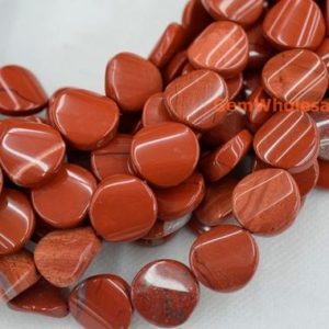 "15.5"" 16mm red jasper twisted/wave coin beads, red gemstone/semi precious stone JGDOC 