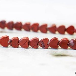 M-S/ Red Jasper 8mm/ 6mm/ 4mm Flat Heart Beads 15.5 inches long, Gemstone Jasper Tiny Heart For Pair Earring, DIY Jewelry Making | Natural genuine other-shape Gemstone beads for beading and jewelry making.  #jewelry #beads #beadedjewelry #diyjewelry #jewelrymaking #beadstore #beading #affiliate #ad