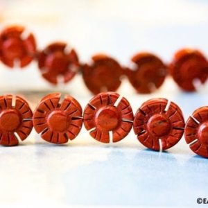 "M/ Red Jasper 12mm Flower Coin Beads 15.5"" strand About 30pc Floral Loose Gemstone Beads for jewelry making 