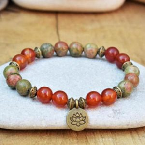 Rhodochrosite Picasso Stone Grounding Healing Balance Calming Bracelet-Spiritual Protection Meditation Anxiety Stress Relief Bracelet | Natural genuine Gemstone bracelets. Buy crystal jewelry, handmade handcrafted artisan jewelry for women.  Unique handmade gift ideas. #jewelry #beadedbracelets #beadedjewelry #gift #shopping #handmadejewelry #fashion #style #product #bracelets #affiliate #ad