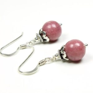 Shop Rhodonite Earrings! Rhodonite Sterling Silver Earrings natural rose pink gemstone classic boho everyday dainty dangle drops birthday gift for her women 5596 | Natural genuine Rhodonite earrings. Buy crystal jewelry, handmade handcrafted artisan jewelry for women.  Unique handmade gift ideas. #jewelry #beadedearrings #beadedjewelry #gift #shopping #handmadejewelry #fashion #style #product #earrings #affiliate #ad
