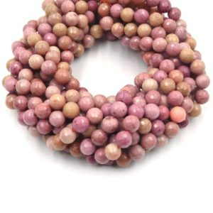 Shop Rhodonite Faceted Beads! Rhodonite Beads | Faceted Pink Round Natural Gemstone Beads – 4mm 6mm 8mm 10mm 12mm | Natural genuine faceted Rhodonite beads for beading and jewelry making.  #jewelry #beads #beadedjewelry #diyjewelry #jewelrymaking #beadstore #beading #affiliate #ad