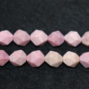 """Shop Rhodonite Faceted Beads! Natural Matte Faceted Pink Rhodonite Gemstone Beads ,Pink Rhodonite Beads ,Star Cut Faceted beads,6mm 8mm 10mm Natural beads,one strand 15"""" 