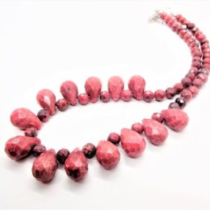 Shop Rhodonite Necklaces! Rhodonite Necklace & Earrings, Handcrafted Jewelry Made with, Faceted Rhodonite, Tear Drop Beads, Pink and Black Gemstones, Gift Idea | Natural genuine Rhodonite necklaces. Buy crystal jewelry, handmade handcrafted artisan jewelry for women.  Unique handmade gift ideas. #jewelry #beadednecklaces #beadedjewelry #gift #shopping #handmadejewelry #fashion #style #product #necklaces #affiliate #ad