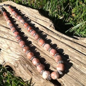 Shop Rhodonite Necklaces! Rhodonite necklace , graduated nuggets, low polish | Natural genuine Rhodonite necklaces. Buy crystal jewelry, handmade handcrafted artisan jewelry for women.  Unique handmade gift ideas. #jewelry #beadednecklaces #beadedjewelry #gift #shopping #handmadejewelry #fashion #style #product #necklaces #affiliate #ad