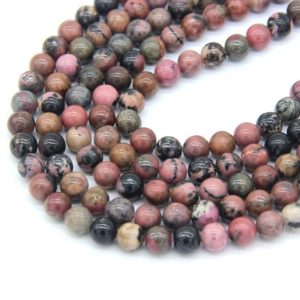 Shop Rhodonite Bead Shapes! Rhodonite Beads 6mm 8mm 10mm Natural Rhodonite Matrix Beads Mala Beads Pink with black Gemstone Beads Rose Black Beads Pink Vintage Beads | Natural genuine other-shape Rhodonite beads for beading and jewelry making.  #jewelry #beads #beadedjewelry #diyjewelry #jewelrymaking #beadstore #beading #affiliate #ad
