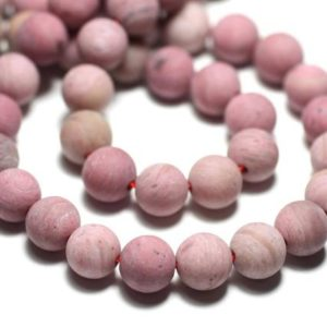 Shop Rhodonite Bead Shapes! Wire 39cm env – stone beads – Rhodonite 44pc pink balls 8 mm matte Frost sand | Natural genuine other-shape Rhodonite beads for beading and jewelry making.  #jewelry #beads #beadedjewelry #diyjewelry #jewelrymaking #beadstore #beading #affiliate #ad