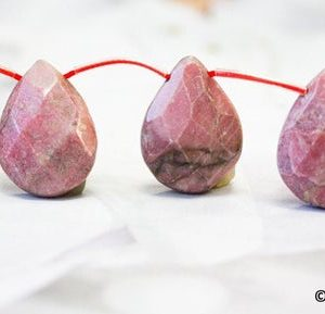 "Shop Rhodonite Bead Shapes! XL/ Rhodonite 18x25mm Flat Pear Briolette beads 16"" strand 16pcs Natural pink gemstones beads For Jewelry Making 