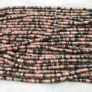 Shop Rhodonite Bead Shapes! Rhodonite Pink 2x4mm Heishi Genuine Black Line Gemstone Loose Beads 15inch Jewelry Supply Bracelet Necklace Material Support Wholesale | Natural genuine other-shape Rhodonite beads for beading and jewelry making.  #jewelry #beads #beadedjewelry #diyjewelry #jewelrymaking #beadstore #beading #affiliate #ad