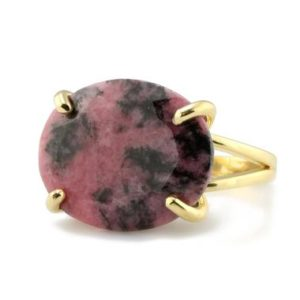 Shop Rhodonite Rings! Beautiful Rhodonite Ring · 14k Gold Filled Ring · Horizontal Oval Ring · Gemstone Ring · Raw Gem Ring · Pink Stone Ring · Vintage Ring | Natural genuine Rhodonite rings, simple unique handcrafted gemstone rings. #rings #jewelry #shopping #gift #handmade #fashion #style #affiliate #ad