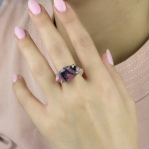 Shop Rhodonite Rings! Natural Rhodonite Ring · Semiprecious Ring · Gold Filled Gemstone Ring · Marquise Ring · Gifts For Christmas · Ring For Mom | Natural genuine Rhodonite rings, simple unique handcrafted gemstone rings. #rings #jewelry #shopping #gift #handmade #fashion #style #affiliate #ad