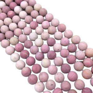 """Shop Rhodonite Round Beads! 10mm Smooth Matte Finish Natural Rose Pink Rhodonite Round/Ball Shaped Beads with 1mm Holes – Sold by 15.5"""" Strands (Approx. 36 Beads) 
