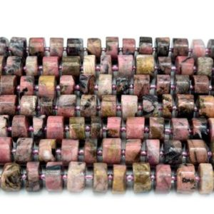Shop Rhodonite Bead Shapes! Rhodonite Wheel, Heishi, Disc Shape Gemstone Bead Strand  approx 7x12mm , 15.5 inches long | Natural genuine other-shape Rhodonite beads for beading and jewelry making.  #jewelry #beads #beadedjewelry #diyjewelry #jewelrymaking #beadstore #beading #affiliate #ad