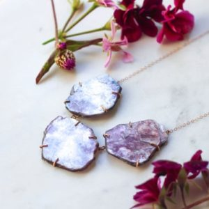 Shop Lepidolite Necklaces! Rose Gold + Lepidolite Necklace | Natural genuine Lepidolite necklaces. Buy crystal jewelry, handmade handcrafted artisan jewelry for women.  Unique handmade gift ideas. #jewelry #beadednecklaces #beadedjewelry #gift #shopping #handmadejewelry #fashion #style #product #necklaces #affiliate #ad
