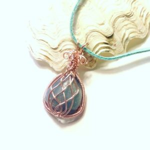 Shop Celestite Pendants! Rose Gold Wire Wrapped Blue Celestite Gemstone Pendant | Natural genuine Celestite pendants. Buy crystal jewelry, handmade handcrafted artisan jewelry for women.  Unique handmade gift ideas. #jewelry #beadedpendants #beadedjewelry #gift #shopping #handmadejewelry #fashion #style #product #pendants #affiliate #ad