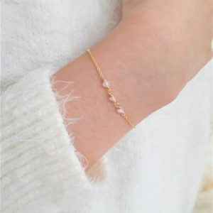 Dainty Rose Quartz Bracelet, Bracelets for Women / Handmade Jewelry / Rose Quartz Jewelry, Gold Chain Bracelet or Sterling Silver, Delicate | Natural genuine Array bracelets. Buy crystal jewelry, handmade handcrafted artisan jewelry for women.  Unique handmade gift ideas. #jewelry #beadedbracelets #beadedjewelry #gift #shopping #handmadejewelry #fashion #style #product #bracelets #affiliate #ad