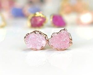 Raw Rose Quartz earrings, Rose Quartz stud earrings, Pink crystal stud earrings, Raw stone earrings, Valentine's day gift Boho stud earrings | Natural genuine Array earrings. Buy crystal jewelry, handmade handcrafted artisan jewelry for women.  Unique handmade gift ideas. #jewelry #beadedearrings #beadedjewelry #gift #shopping #handmadejewelry #fashion #style #product #earrings #affiliate #ad