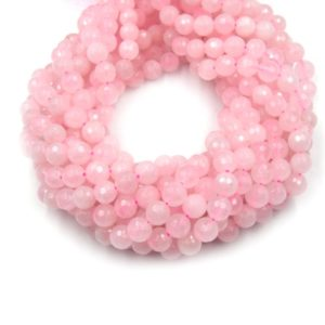 Shop Rose Quartz Faceted Beads! Faceted Rose Quartz Bead | Pink Round Faceted Finish Gemstone Beads | 4mm 6mm 8mm 10mm 12mm Available | Natural genuine faceted Rose Quartz beads for beading and jewelry making.  #jewelry #beads #beadedjewelry #diyjewelry #jewelrymaking #beadstore #beading #affiliate #ad