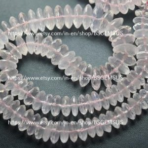 Shop Rose Quartz Rondelle Beads! 8 Inches Strand,Natural Rose Quartz German Cutting Rondelles Size 8-9mm | Natural genuine rondelle Rose Quartz beads for beading and jewelry making.  #jewelry #beads #beadedjewelry #diyjewelry #jewelrymaking #beadstore #beading #affiliate #ad