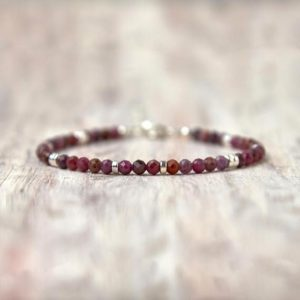 Ruby bracelet sterling silver July birthstone jewelry Women gift for her Gemstone ruby jewelry Delicate bracelet Crystal stone jewelry | Natural genuine Array bracelets. Buy crystal jewelry, handmade handcrafted artisan jewelry for women.  Unique handmade gift ideas. #jewelry #beadedbracelets #beadedjewelry #gift #shopping #handmadejewelry #fashion #style #product #bracelets #affiliate #ad