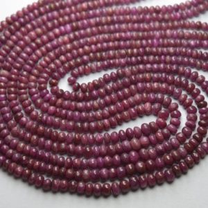 Shop Ruby Rondelle Beads! 15 Inches Strand,Natural Ruby Smooth Rondelles,Size 3-4.5mm Approx | Natural genuine rondelle Ruby beads for beading and jewelry making.  #jewelry #beads #beadedjewelry #diyjewelry #jewelrymaking #beadstore #beading #affiliate #ad