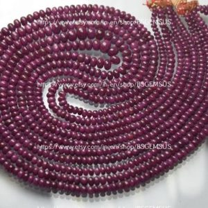 Shop Ruby Rondelle Beads! 16 Inches Strands,Finist Quality,Natural Ruby Smooth Rondelles.Size 3-6mm | Natural genuine rondelle Ruby beads for beading and jewelry making.  #jewelry #beads #beadedjewelry #diyjewelry #jewelrymaking #beadstore #beading #affiliate #ad