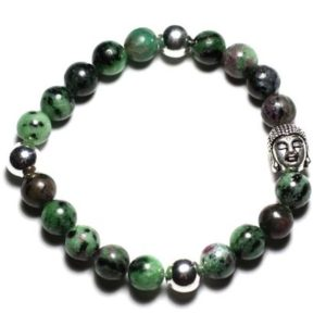 Shop Ruby Zoisite Bracelets! Gemstone – Ruby Zoisite 8 Mm And Buddha Bracelet | Natural genuine Ruby Zoisite bracelets. Buy crystal jewelry, handmade handcrafted artisan jewelry for women.  Unique handmade gift ideas. #jewelry #beadedbracelets #beadedjewelry #gift #shopping #handmadejewelry #fashion #style #product #bracelets #affiliate #ad