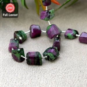 Shop Ruby Zoisite Chip & Nugget Beads! Natural Ruby Zoisite 14-19mm Step Cut Nuggets Shape Gemstone Beads / Approx. 17 Pieces on 14 Inch Long Layout / JBC-ET-156663 | Natural genuine chip Ruby Zoisite beads for beading and jewelry making.  #jewelry #beads #beadedjewelry #diyjewelry #jewelrymaking #beadstore #beading #affiliate #ad